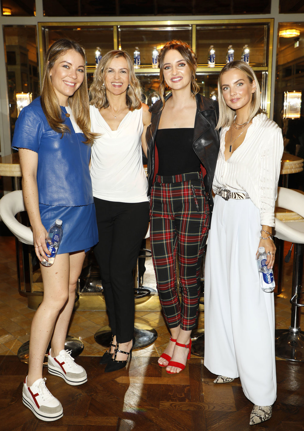Emma Manley, Elaine Ross, Caroline Foran and Joanna Cooper at the launch of Smartwater which was held at the Ivy .photo Kieran Harnett
