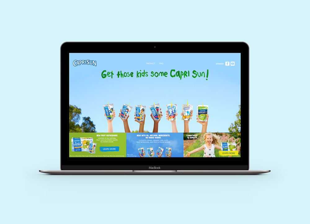 Collected are a series of digital design screenshots for Capri Sun's website featuring an updated homepage and product pages with new key visual designs. All content on this page was created with Leo Burnett Chicago. -