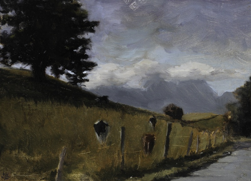 Wandering Cows, 22x16 cm, Oil on Canvas, 2013.