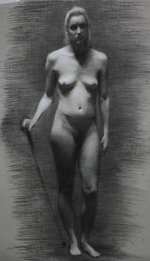 ena, charcoal & white chalk on paper, 2013