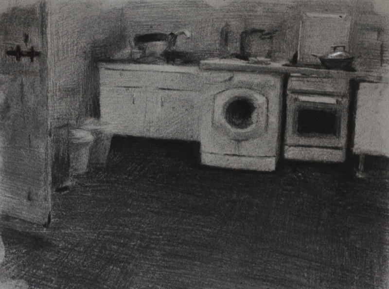 san felice kitchen, charcoal on paper, 2014