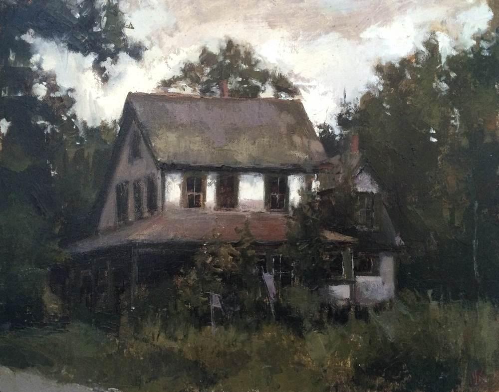 bob's house, oil on mounted linen panel, 2014