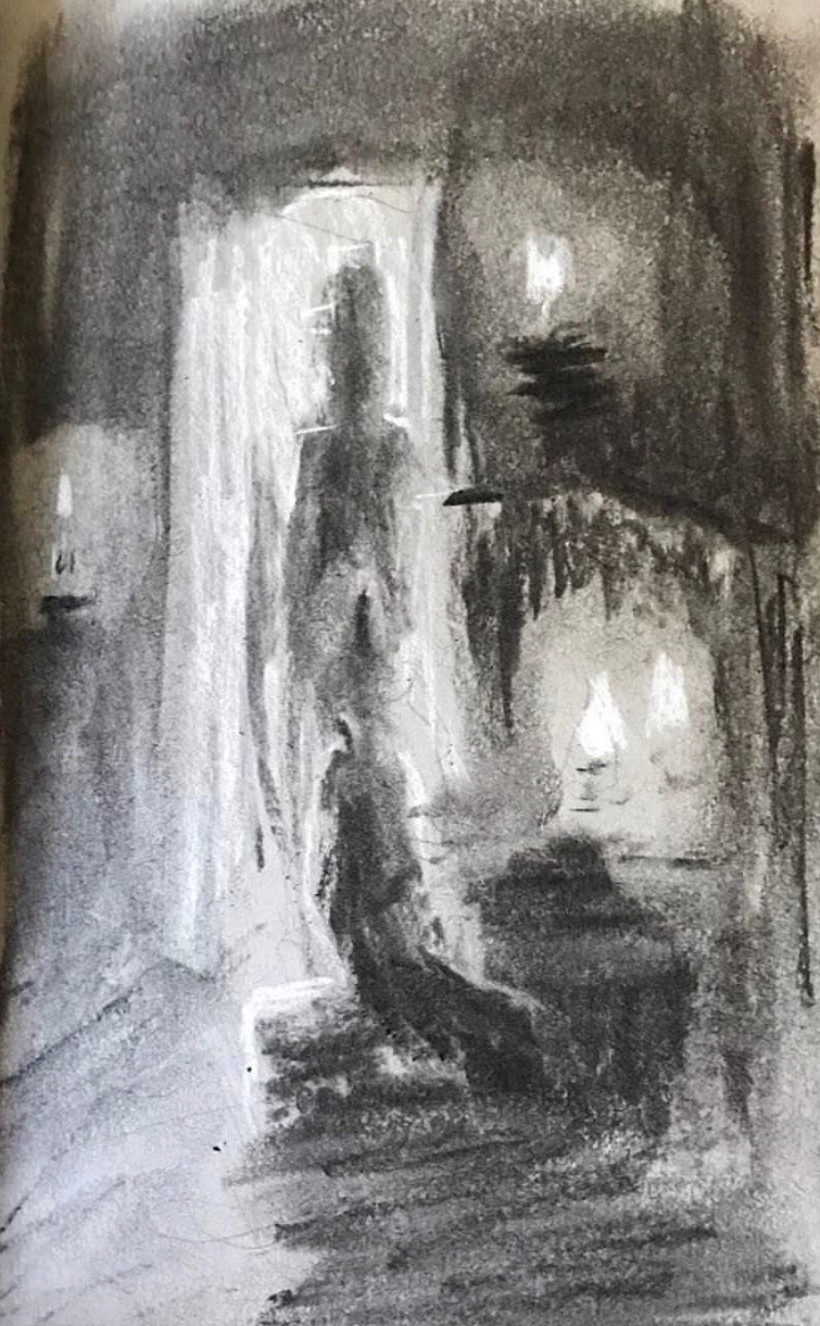 dreamscape ii, charcoal on paper, 2017