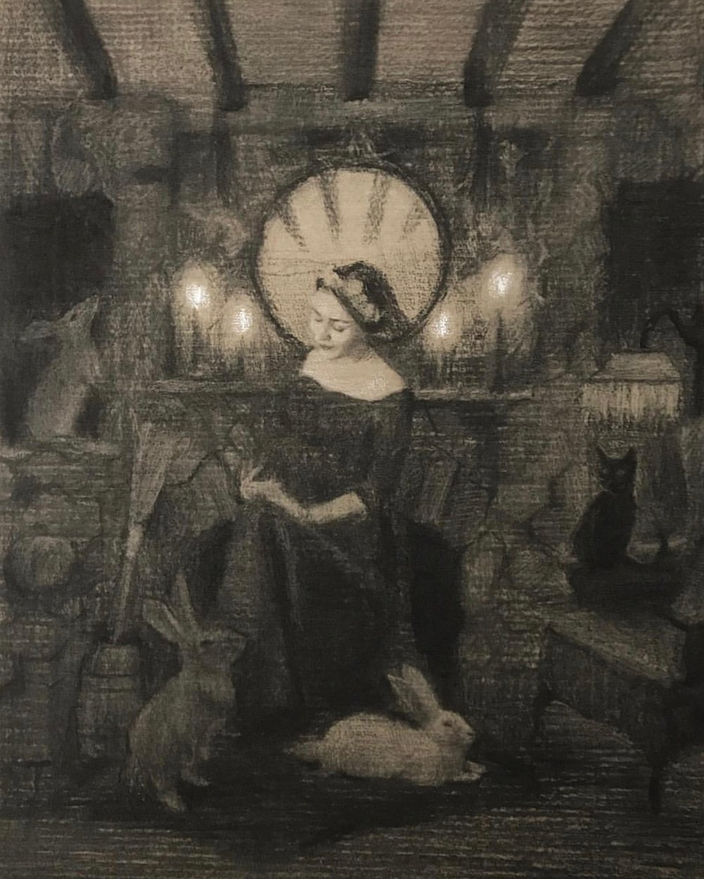 guinevere & her familiars, charcoal & white chalk on paper, 2017