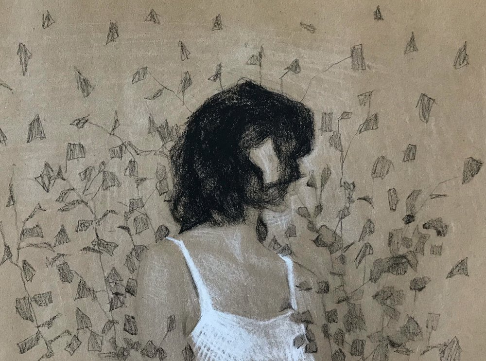 ciara in the vines, charcoal & white chalk on paper, 2018