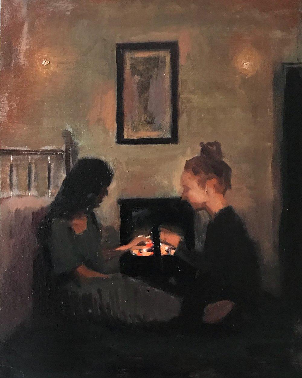 women & fire, oil on panel, 2018