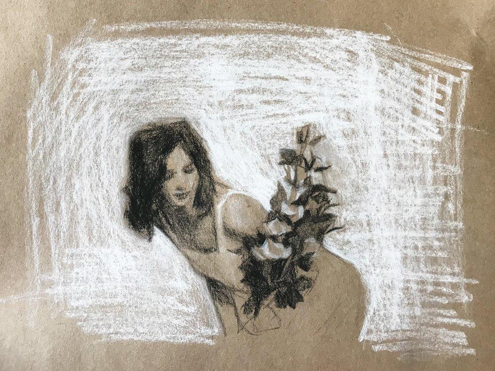 eucalyptus rose, charcoal & white chalk on paper, 2018