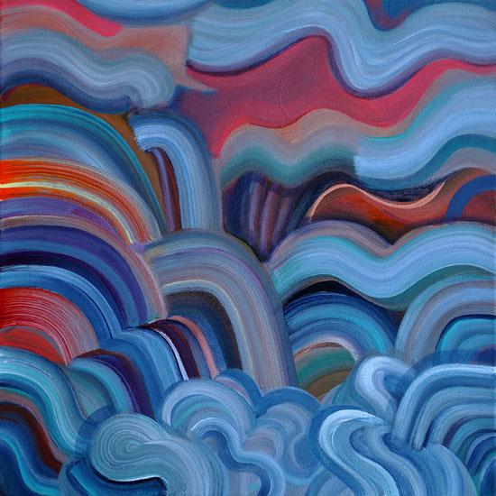 "Dayglo Falls, 12x12"" acrylic on canvas"
