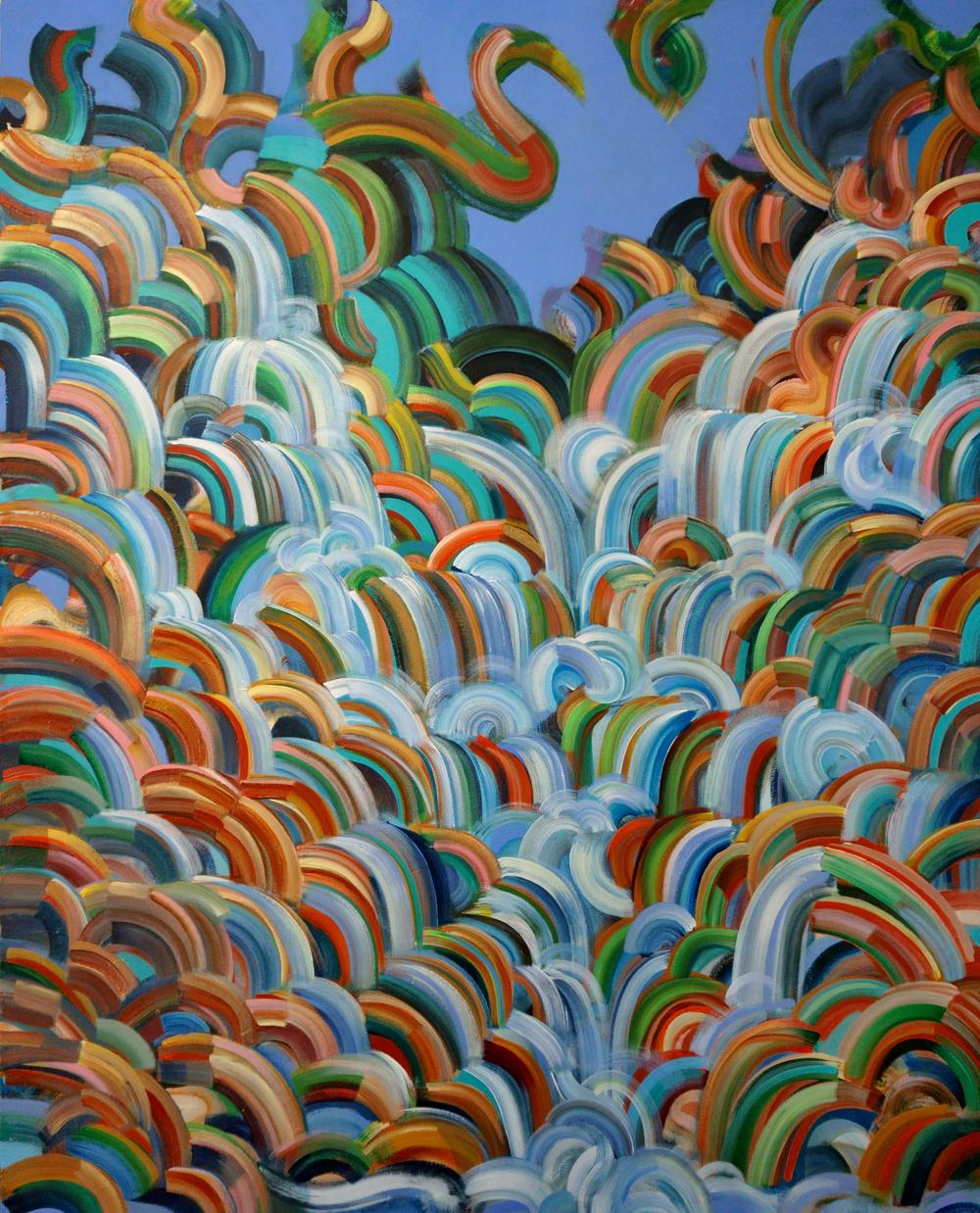 """Aviary Cascade 48x60"""" acrylic on canvas"""