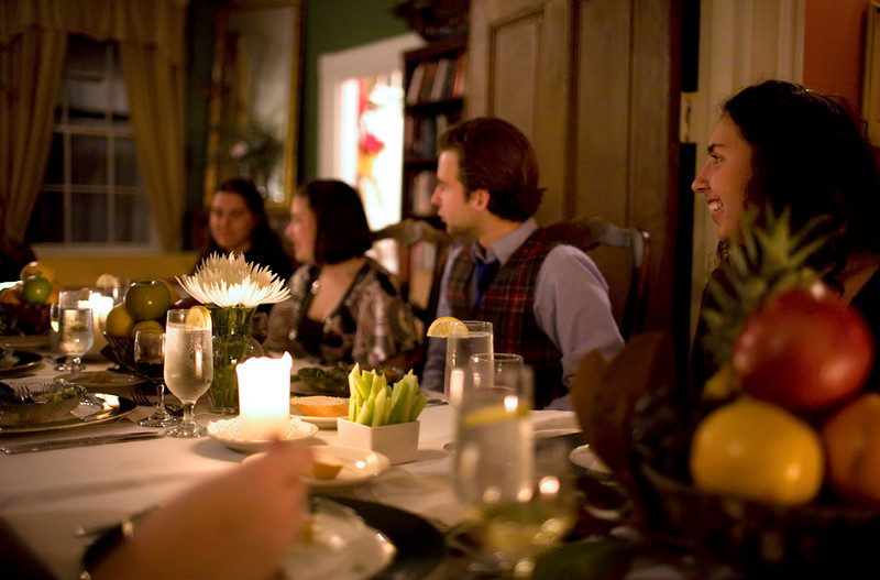 Students enjoying a Victorian dinner at the Brome-Howard Inn in St. Mary's City, Maryland.