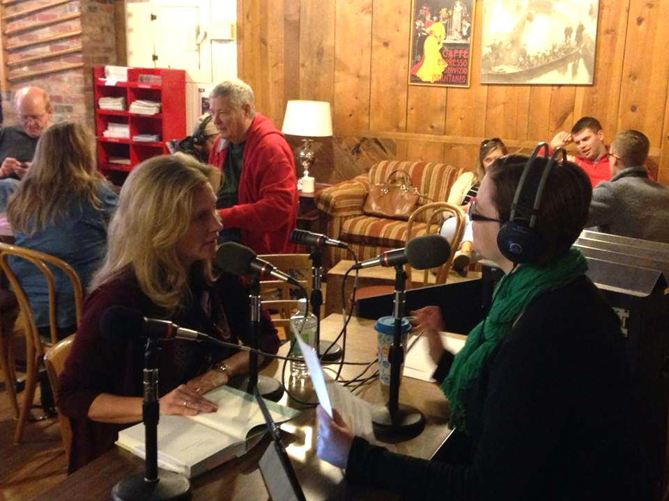"Jennifer Cognard-Black being interviewed on ""Live at the Mill"" with Genevieve Randal, Nebraska Public Radio."