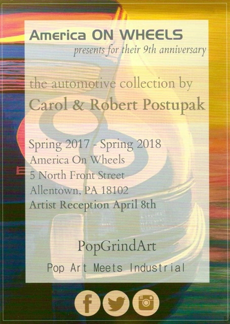 America On Wheels presents Carol & Bob Postupak automotive collection . Artist reception Noon to 2;30pm