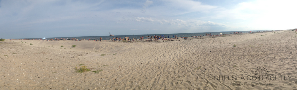 A panoramic view of Fort Tilden Beach in New York City.