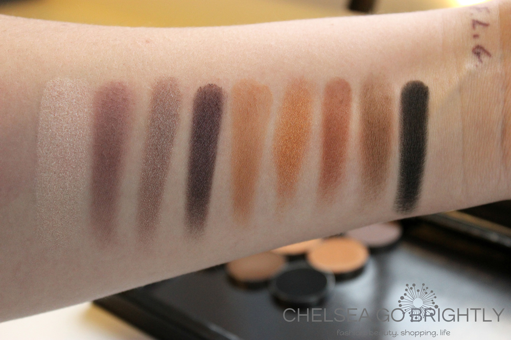 Swatches L to R: Shimma Shimma, Unexpected, Prom Night, Drama Queen, Creme Brulee, Glamorous, Cocoa Bear, Mocha, Corrupt