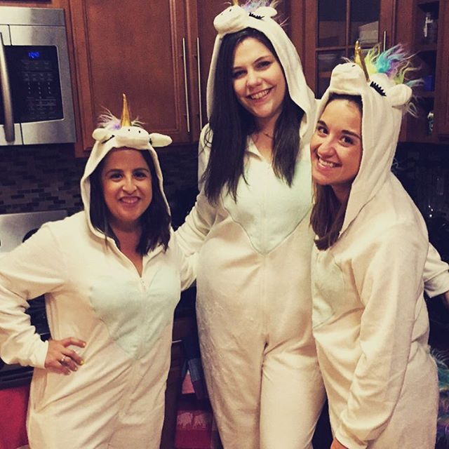 If you don't rock matching unicorn onesies on a Saturday night, you're doing it wrong. 🦄🦄🦄 @jessamichelle4 @gengounchained