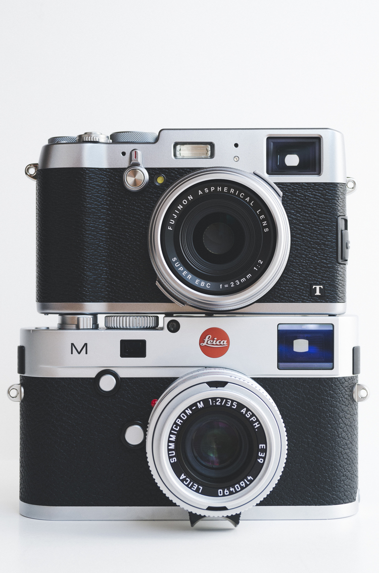 Fuji X100T Perched On Top Of A Leica M Typ 240 With 35mm F