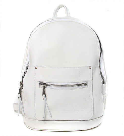 White Leather Collegiate Backpack — Khoi Le
