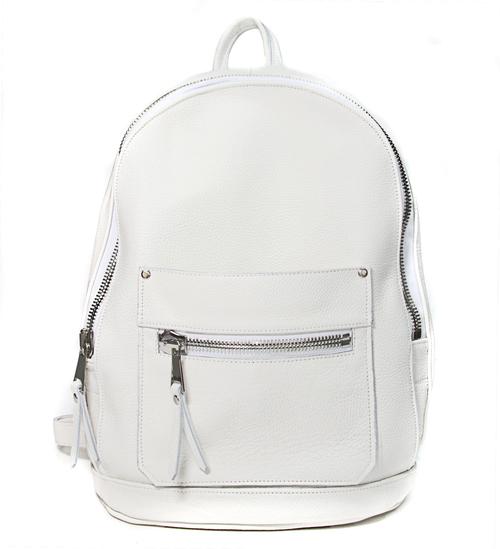 White Leather Collegiate Backpack — Khoi Le