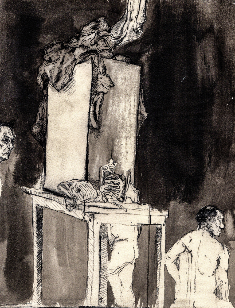 Guards 'round the slab.   2013. 11 x 13 inches. Ink wash on paper.