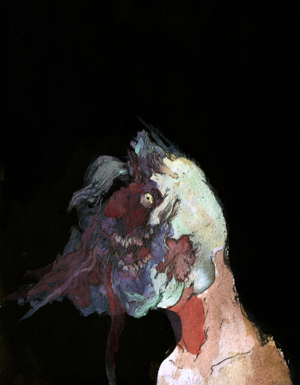 study for a caved in skull.