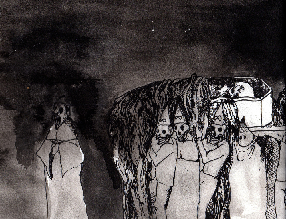 Given to the Grave  . 2013. 14 x 11 inches. Ink wash on paper.