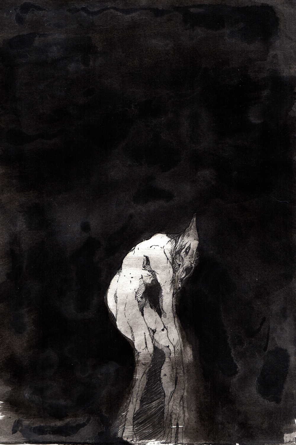 Life Without Air  . 2013. 10 x 15 inches. Ink wash on paper.