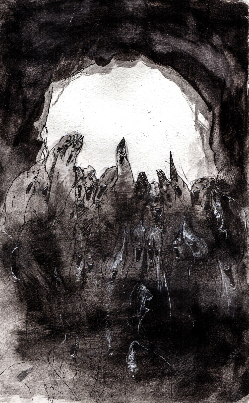 The light wholly consumes  . 2013. 10 x 15 inches. Ink wash on paper.