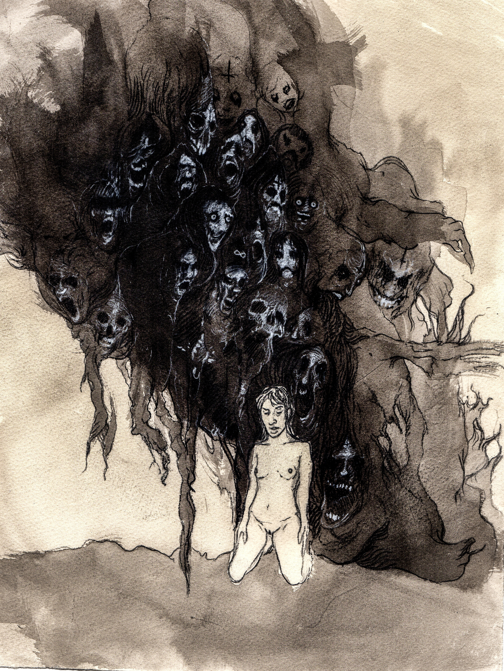 Why can't we just walk away?   2013. 12 x 15 inches. Ink wash on paper.