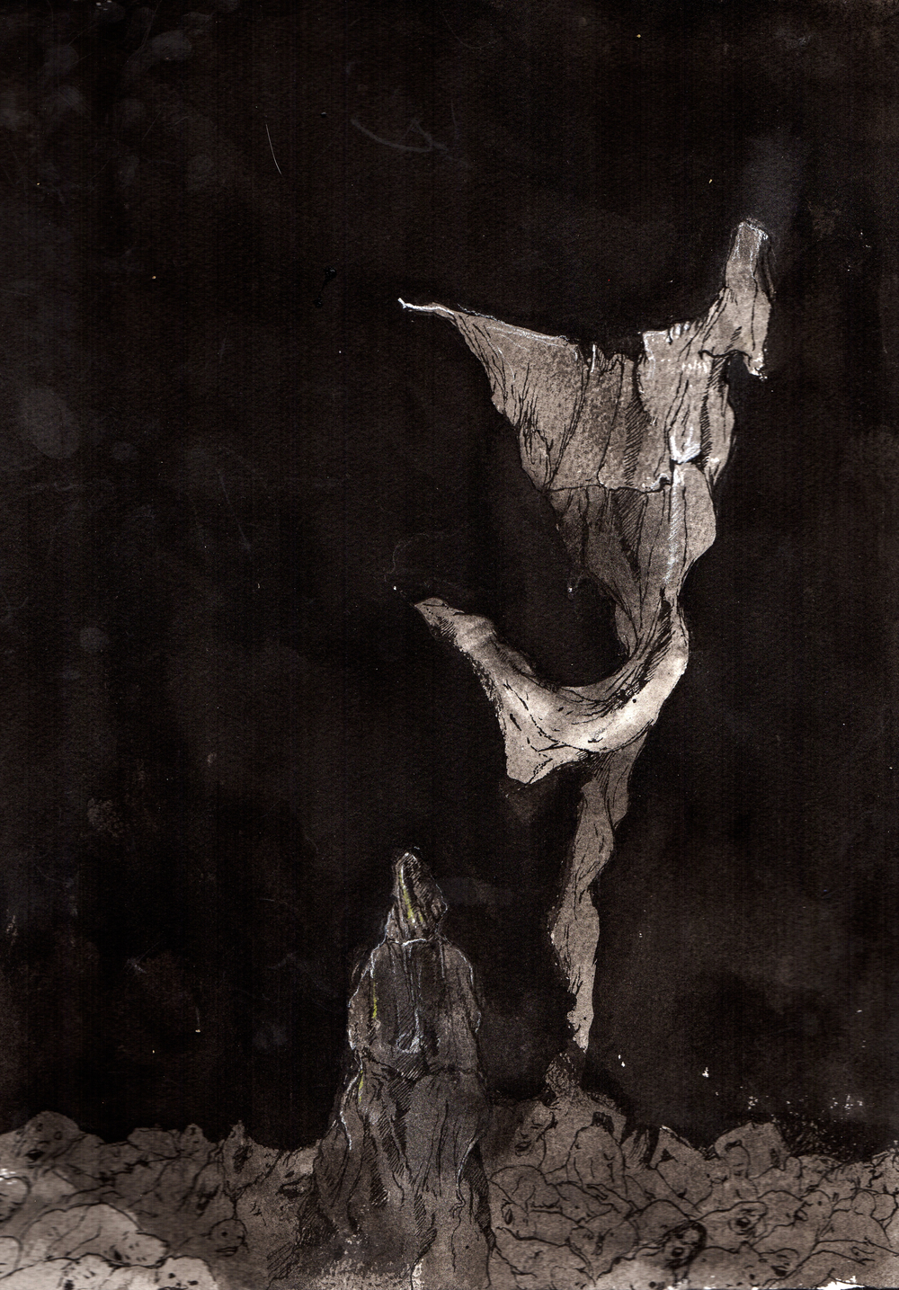 Every man is broken by the same holy curse  . 2013. 11 x 14 inches. Ink wash on paper.