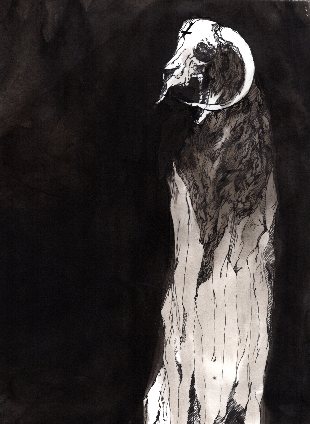 Invocation of the Black One  . 2013. 12 x 15 inches. Ink wash on paper.