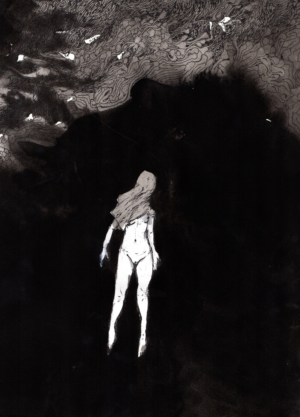 Darkness I Became.   2013. 12 x 15 inches. Ink wash on paper.