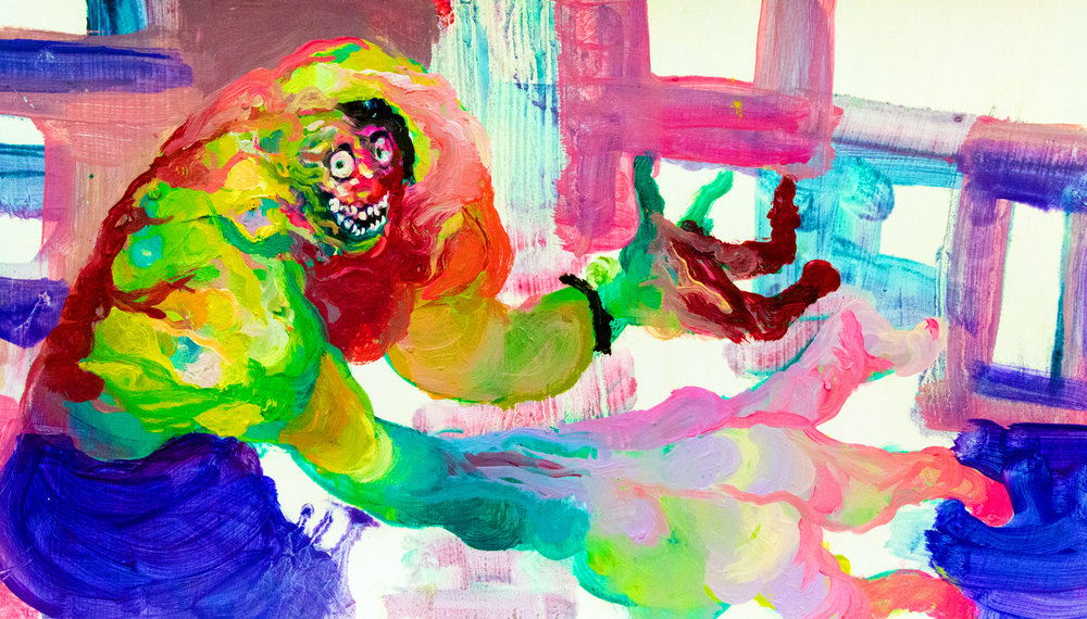 Hulk Cosplay Expert.  2017. Oil on paper.