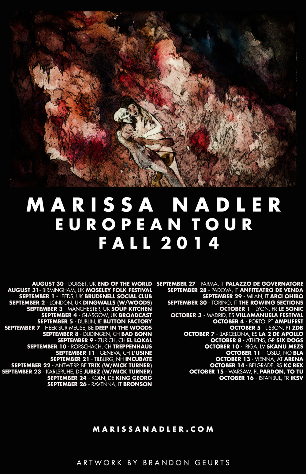 2014. Tour poster for Marissa Nadler.