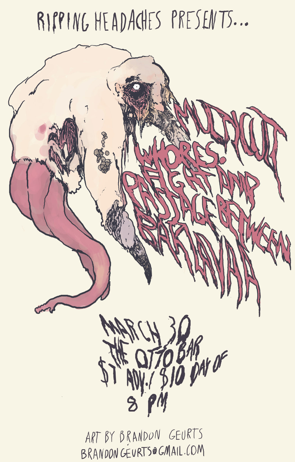 2014. Flyer for Fight Amp/Whores. at the Ottobar. Baltimore, MD.