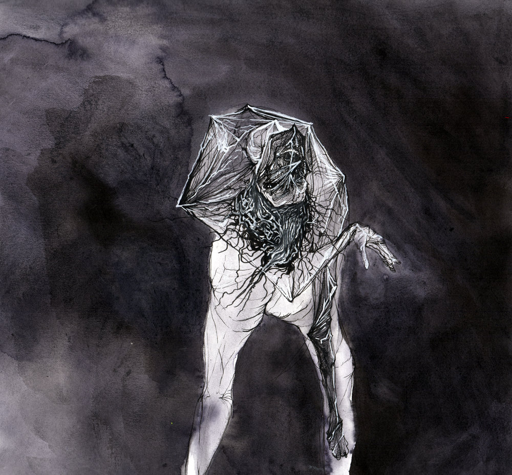 Face God and Walk Backwards Into Hell.   Ink wash and pen on paper.