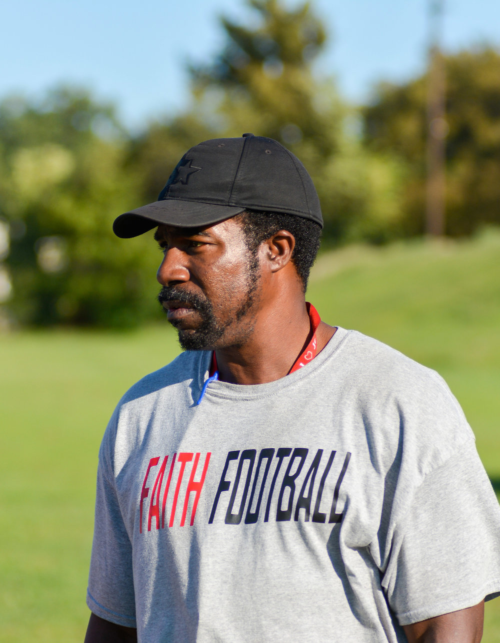 Sherwyn Thomas, the founder and head football coach of the College of Faith