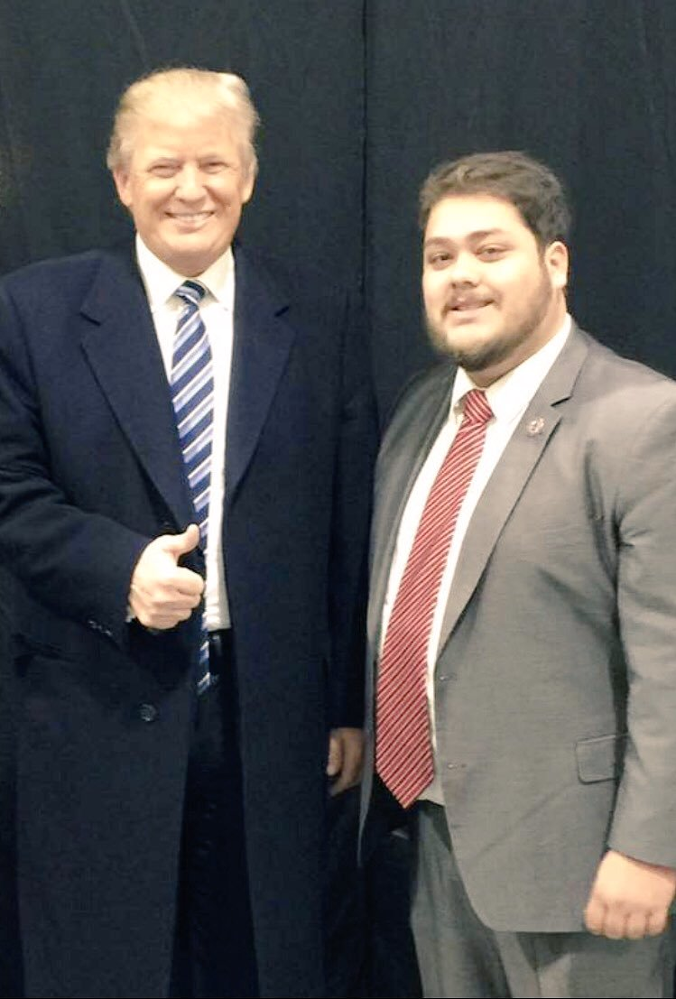 Juan Pablo Andrade (left), a rising GOP figure who has close ties with the Trump family, allegedly is a made member of the Genovese crime family.  Photo via Andrade's Twitter .
