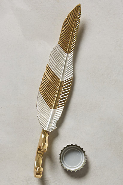 Luminous Quill Bottle Opener from Anthropologie - Open a bottle in style with this gorgeous mixed metal feather bottle opener.