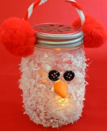 Snowman Mason Jar Luminary