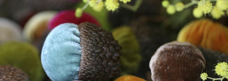 My favorite fall decor - velvet acorns from Plush Pumpkin