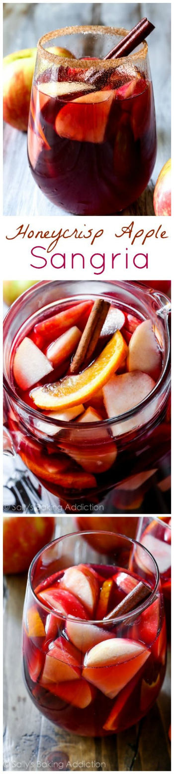 Honeycrip Apple Sangria: This is THE drink to sip on fall weekends (or weeknights).  It is filled with the best flavors! Recipe and images via Pinterest