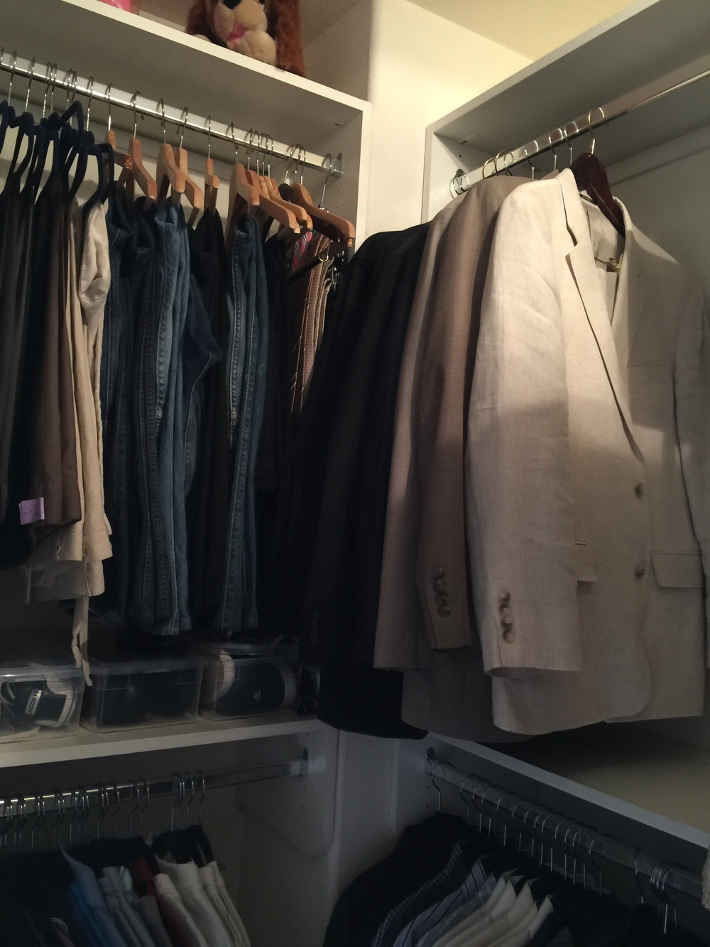 organized coats and jeans