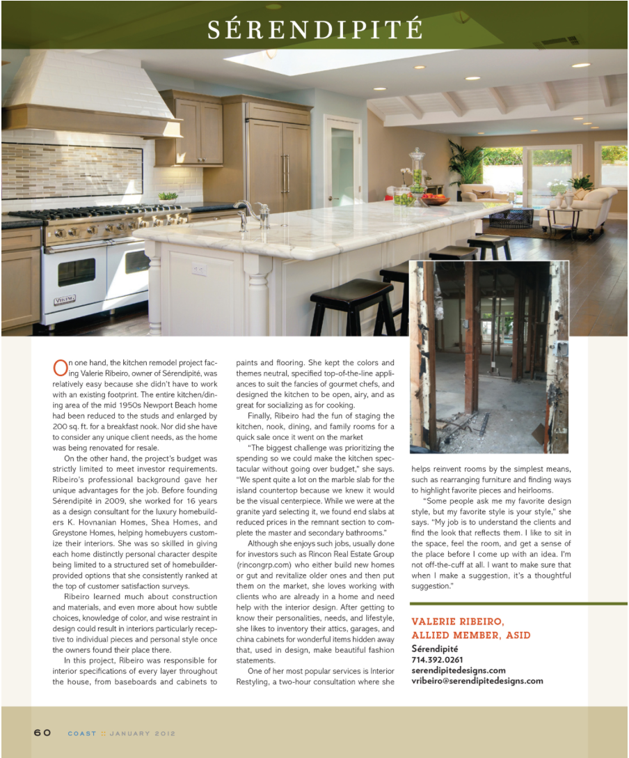 COAST MAGAZINE   We are so honored to be have one of our projects featured in the design trends section of Charlotte Home Design Magazine. To view the full magazine  click here