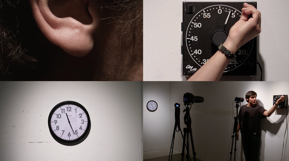 3 minute 30 seconds —   [screen capture]—     4 minute 44 second performance for camera documenting the simultaneous forward and backward movement of time, with a specific interest in articulating notions associated with the ability language has to being tied to time tenses.