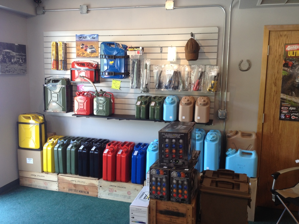 They have the 20L jerry cans in all sorts of colors. They also have Sceptor 10L & 20L water cans that are BPA free and do not leach!