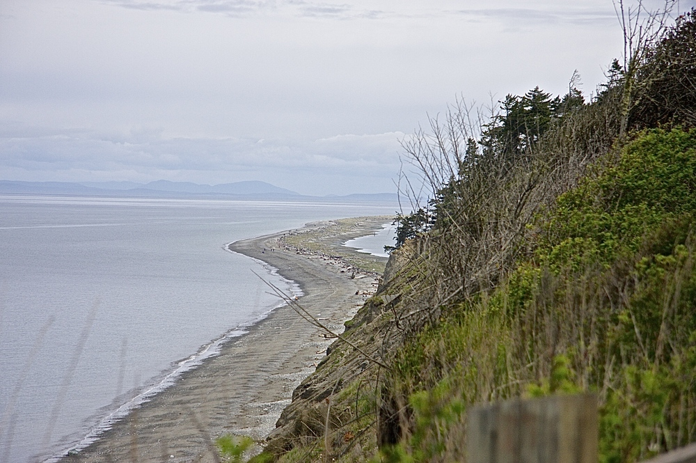 View of the start of the spit from the bluff, facing East from our campsite.