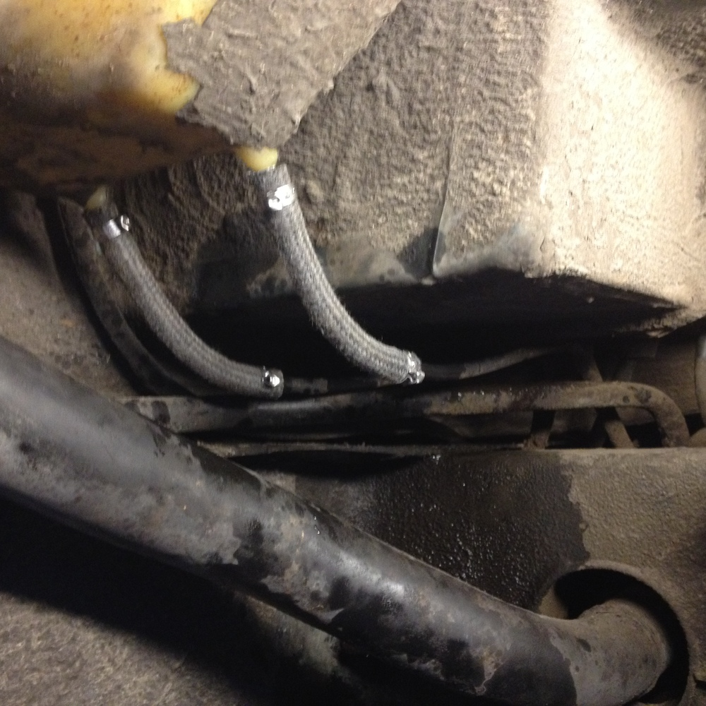 Here's a shot of the new fuel lines coming off of the passenger side expansion tank.