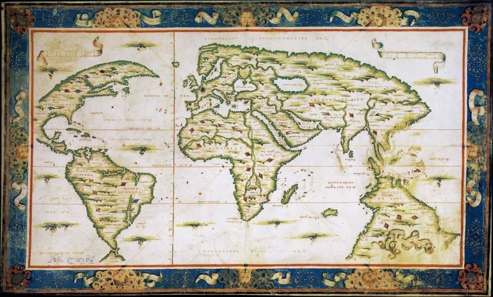 "World map of Nicolas Desliens, 1566. This picture is upside down, in the original north is at the bottom.  Saint Teresa wrote ""The Way of Perfection"" in 1566."