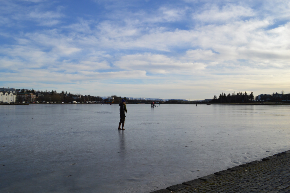 Walking on the lake in the center of Reykjavík, completely frozen over. I loved watching kids ride bikes and run with dogs on it.