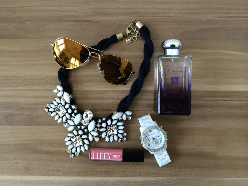 Sunglasses and necklace from C Wonder Store// Fragrance from Jo Malone London// timepiece from Michael Kors// Lipgloss from Sephora